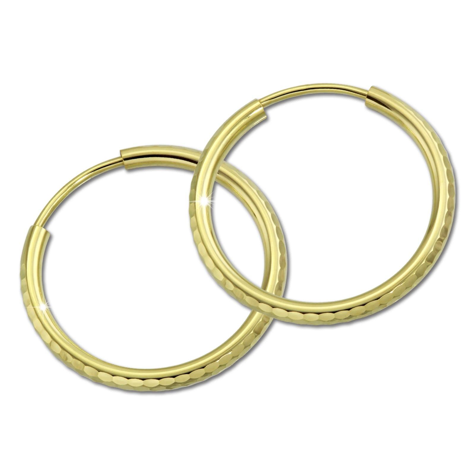 SilberDream Goldcreole Schliff 15mm Ohrring 333 Gelbgold Echtschmuck GDO0041Y