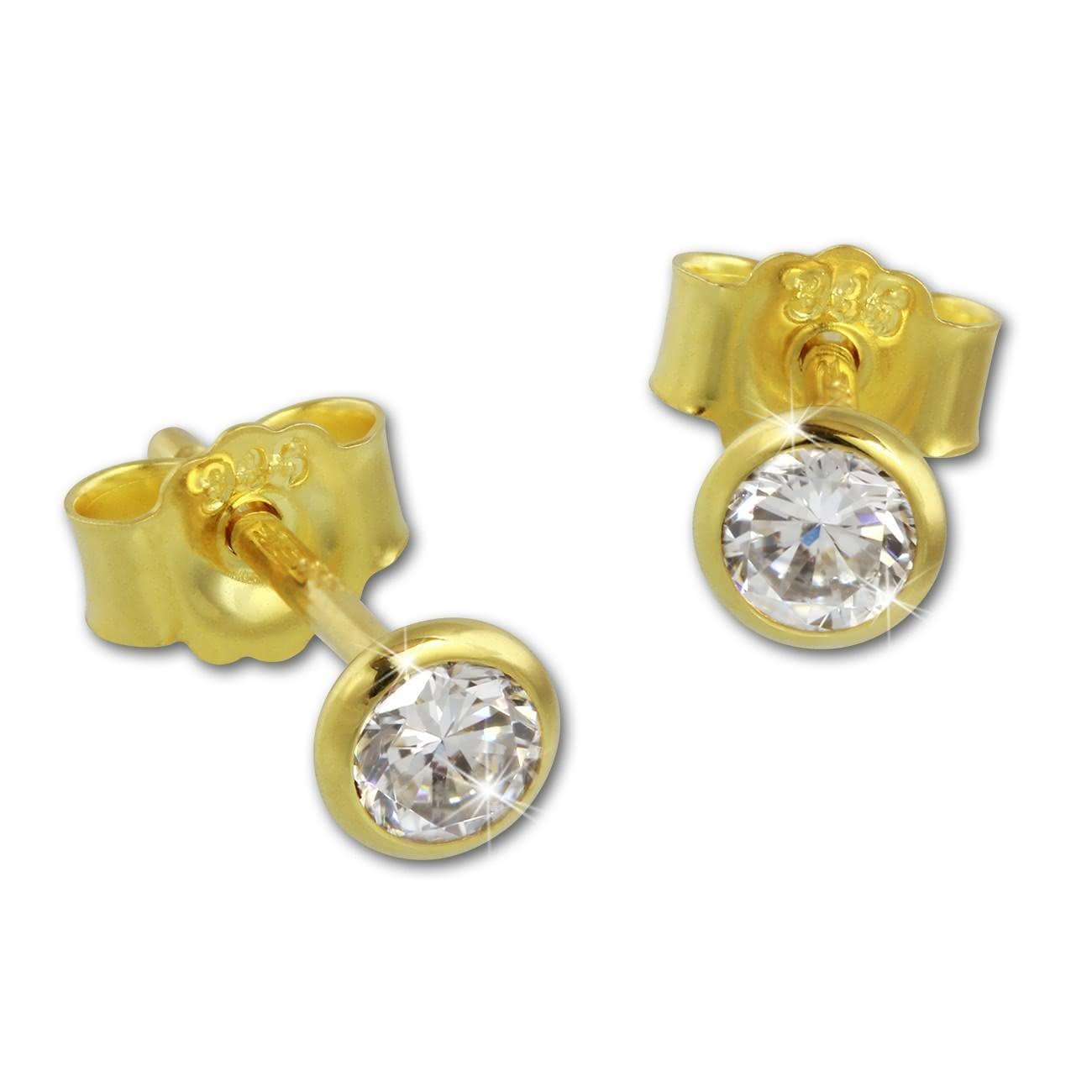 SilberDream Ohrstecker Zirkonia 4mm weiß Ohrring 333 Gelbgold GDO0054Y