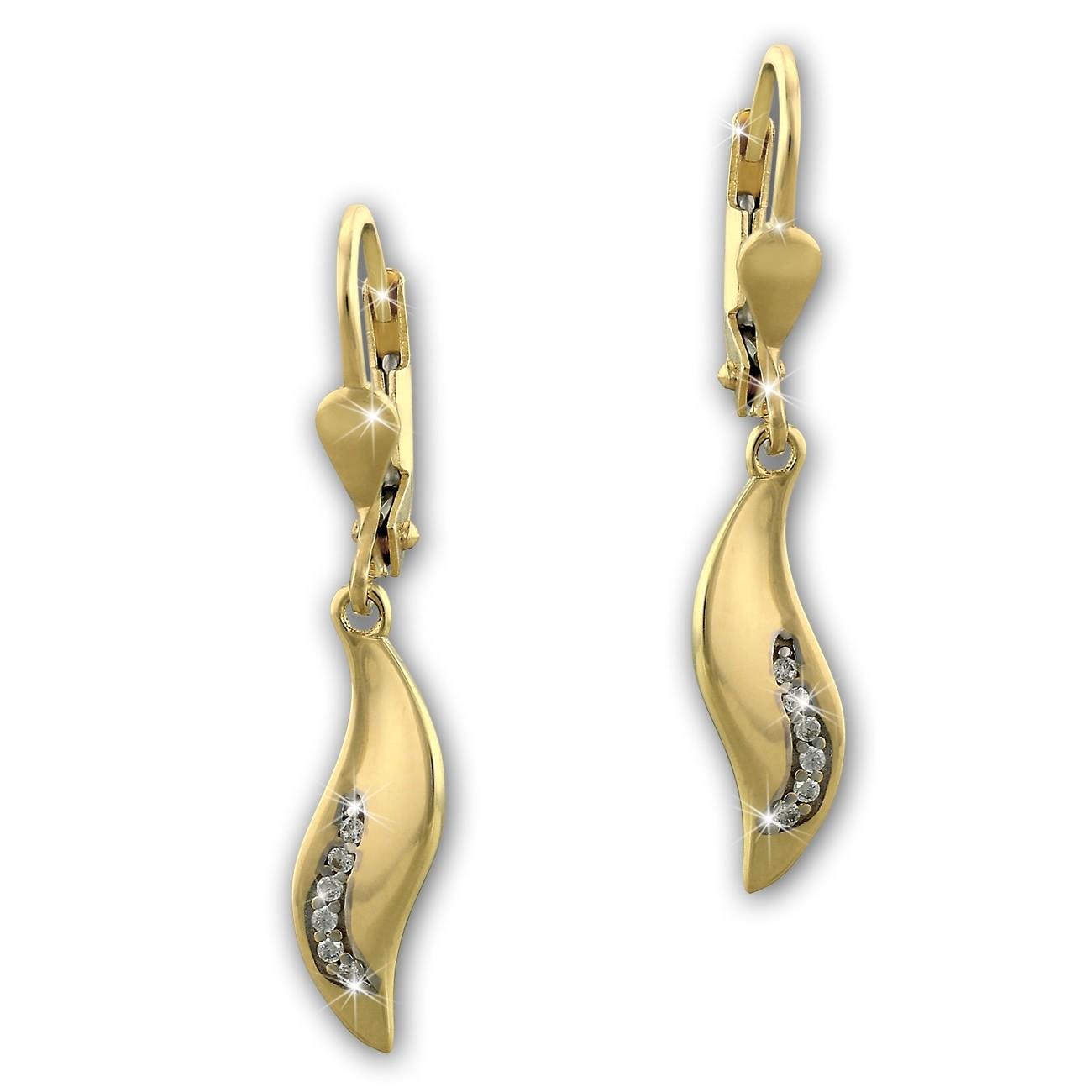SilberDream Ohrhänger Welle Zirkonia weiß Ohrring 333 Gold Echtschmuck GDO5153Y