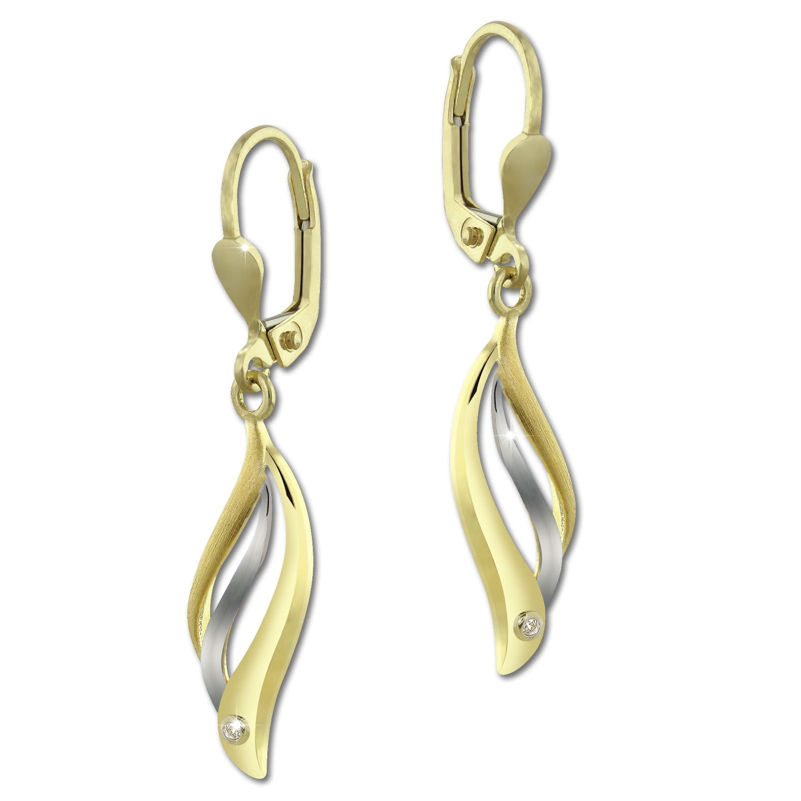 SilberDream Ohrhänger Wellen Zirkonia weiß Ohrring 333 Gold Echtschmuck GDO5163Y
