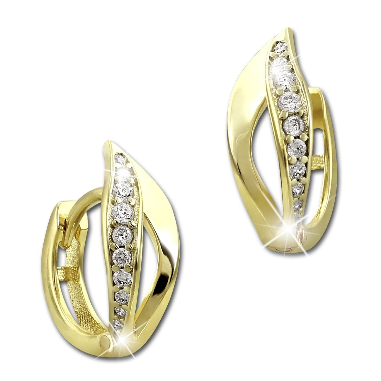 SilberDream Creole Blatt Zirkonia weiß Ohrring 333 Gold Echtschmuck GDO525WY