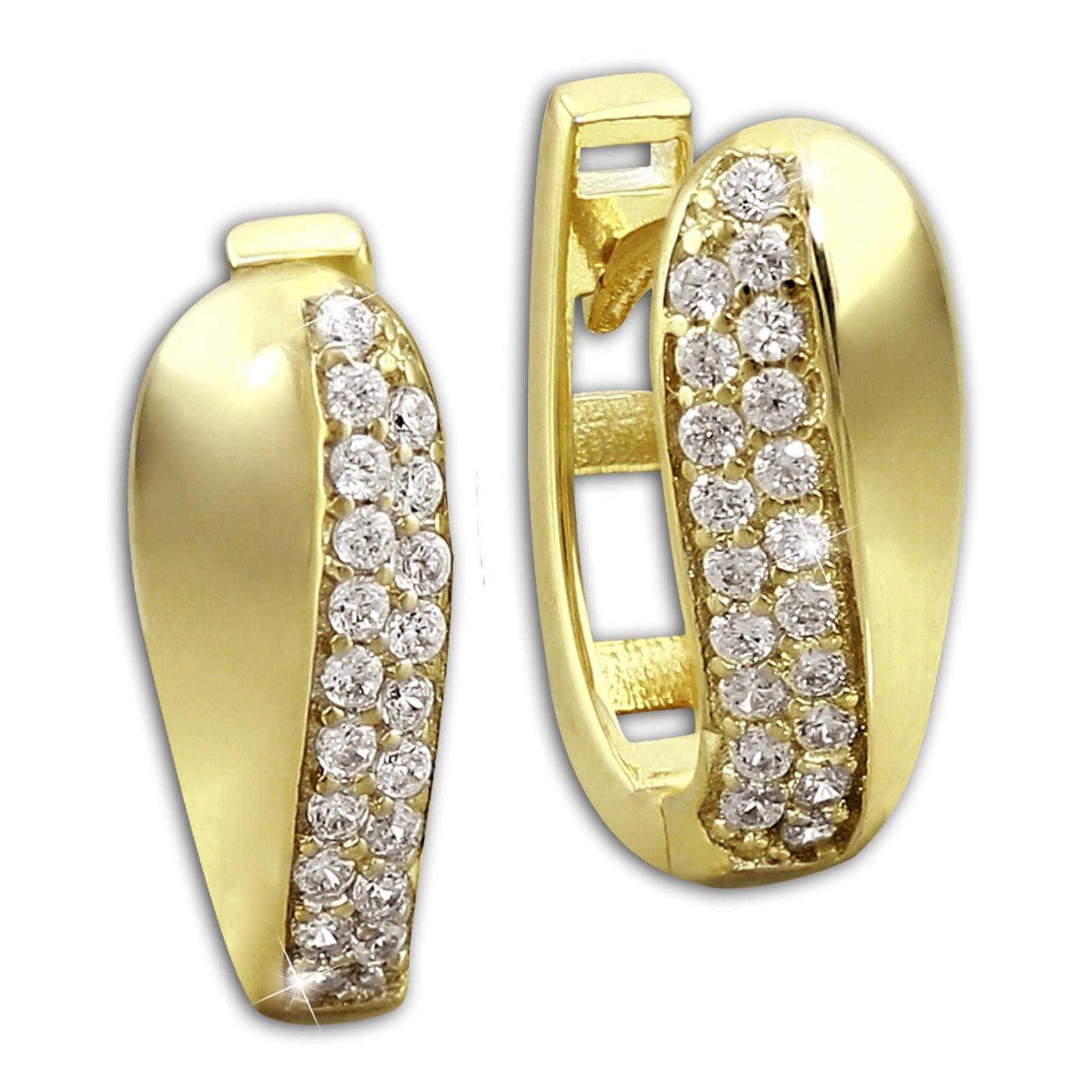 SilberDream Creole Glamour Zirkonia weiß Ohrring 333 Gold Echtschmuck GDO526WY