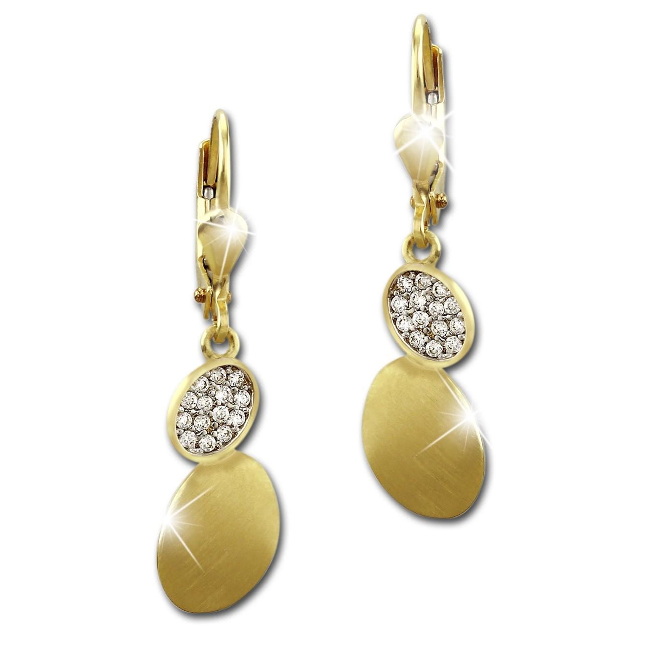 SilberDream Ohrhänger Oval Zirkonia weiß Ohrring 333 Gold Echtschmuck GDO531WY