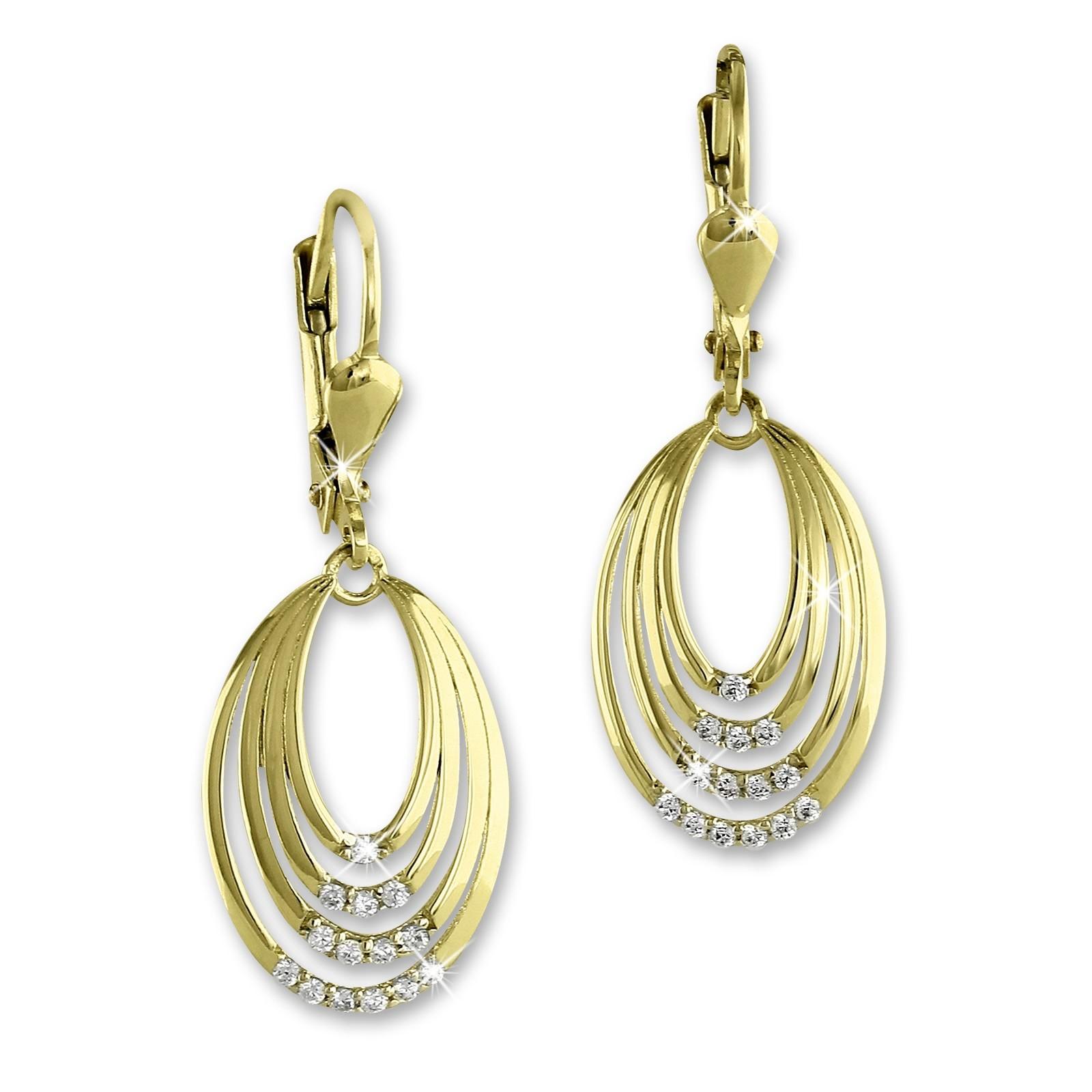 SilberDream Ohrhänger Ovale Zirkonia weiß Ohrring 333 Gold Echtschmuck GDO544WY
