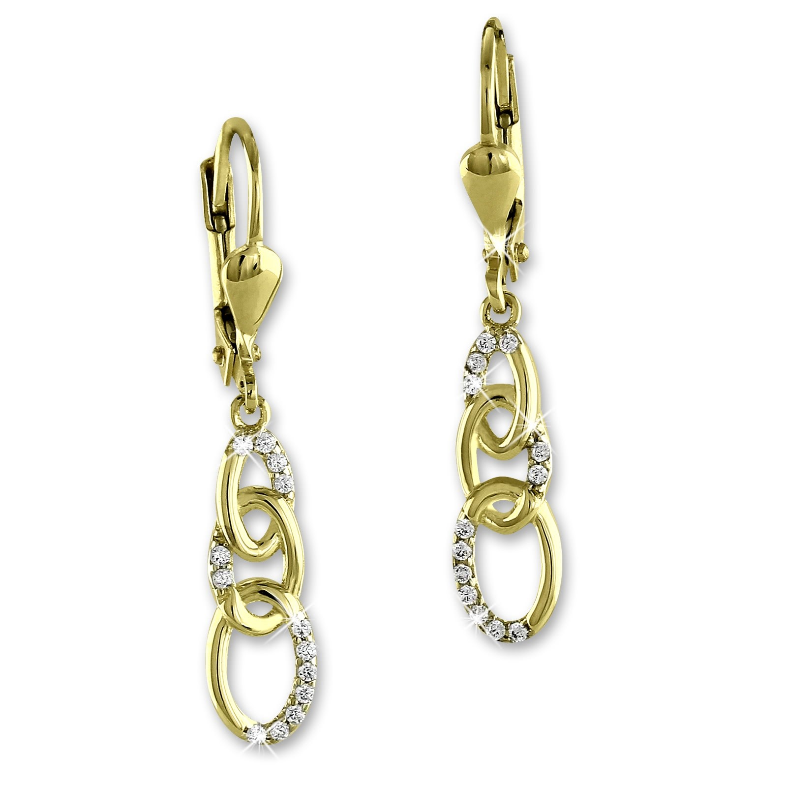 SilberDream Ohrhänger Kette Zirkonia Ohrring 333 Gold Echtschmuck GDO546WY