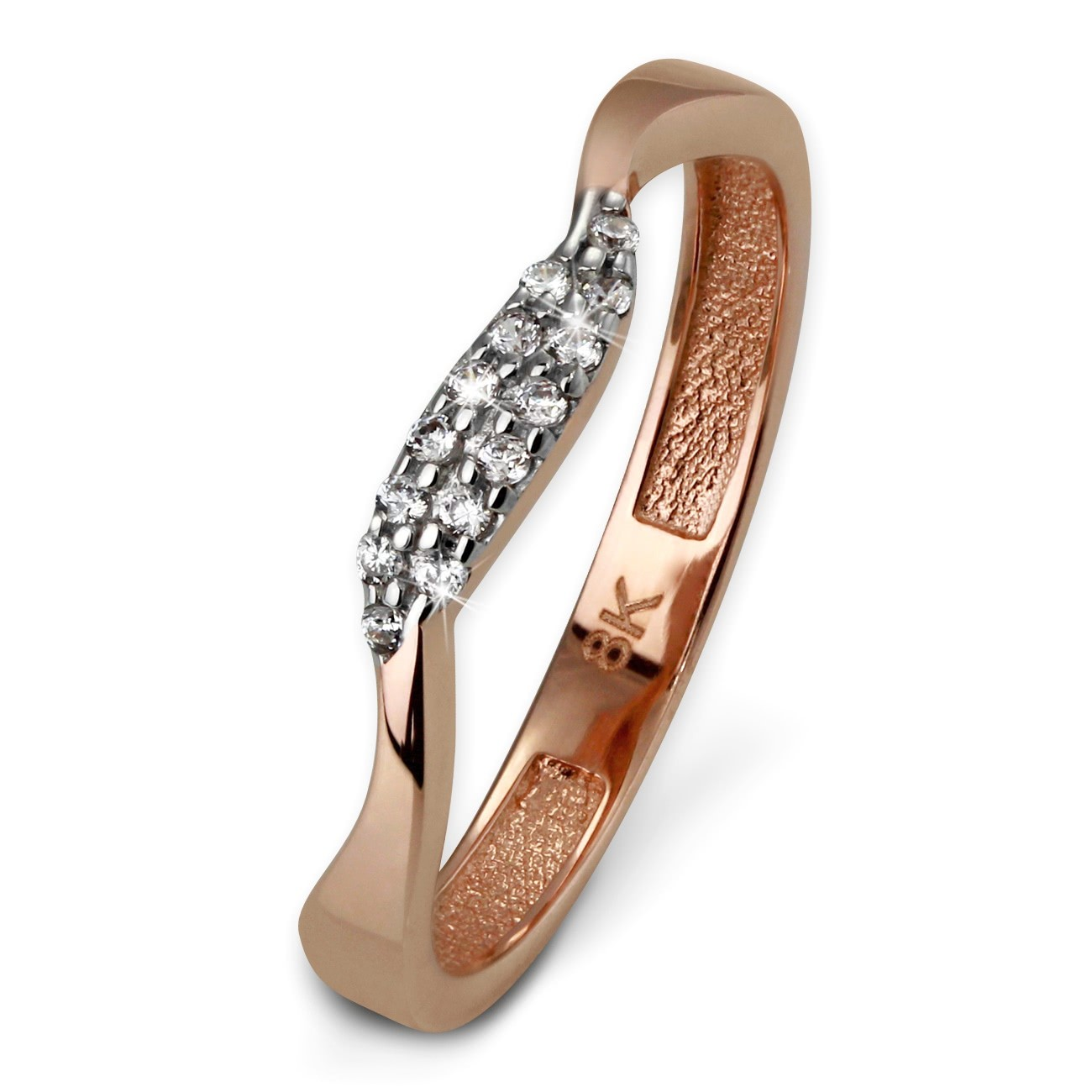 SilberDream Gold Ring Welle Zirkonia weiß Gr.60 333er Rosegold GDR501E60