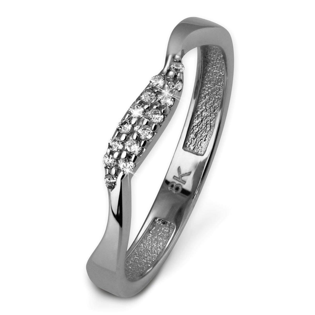 SilberDream Gold Ring Welle Zirkonia weiß Gr.60 333er Weißgold GDR501J60