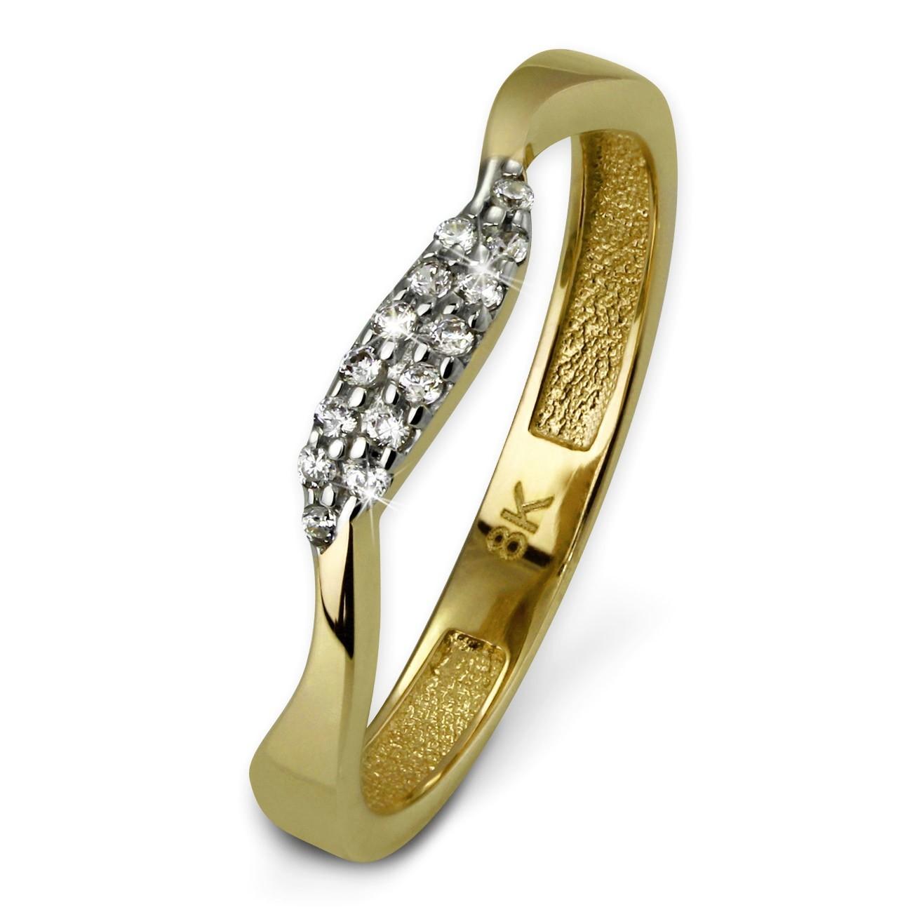 SilberDream Gold Ring Welle Zirkonia weiß Gr.56 333er Gelbgold GDR501Y56