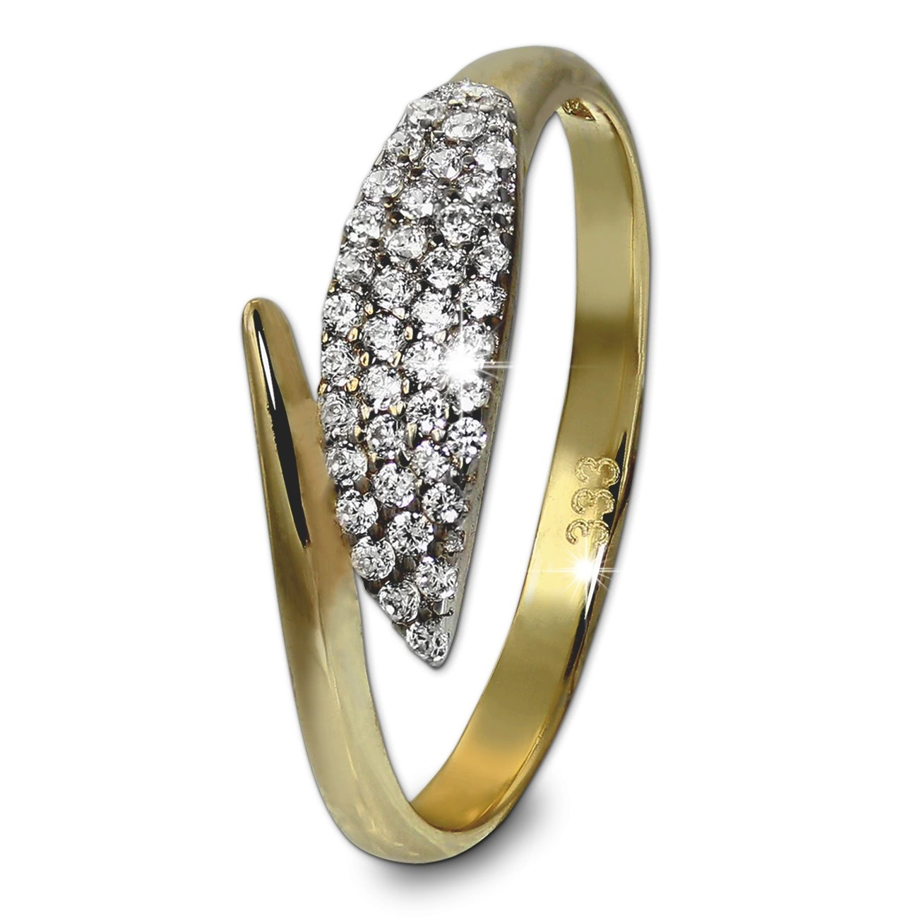 GoldDream Gold Ring Blatt Gr.54 Zirkonia weiß 333er Gelbgold GDR517Y54
