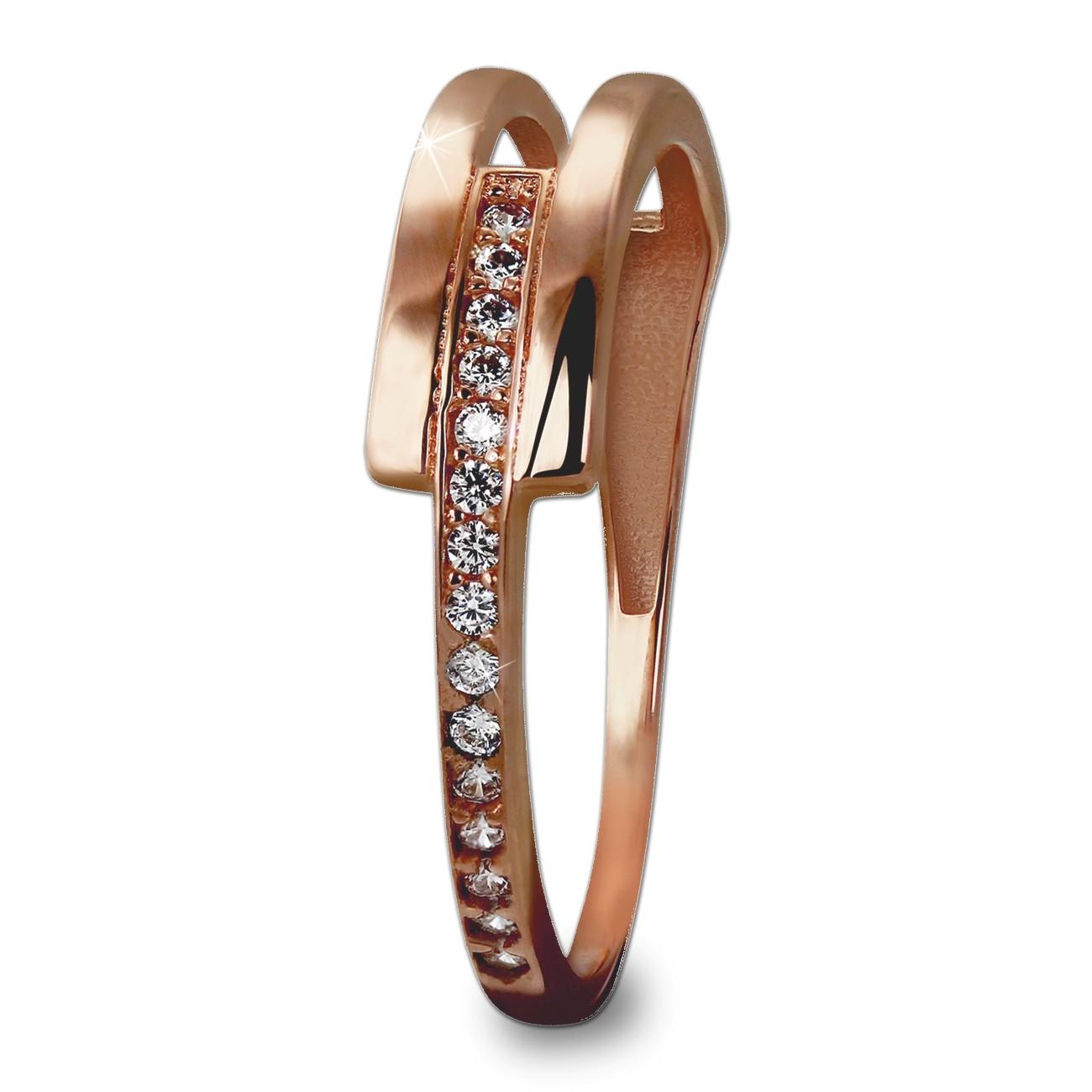 GoldDream Gold Ring Gr.60 Zirkonia weiß 333er Rosegold GDR526E60