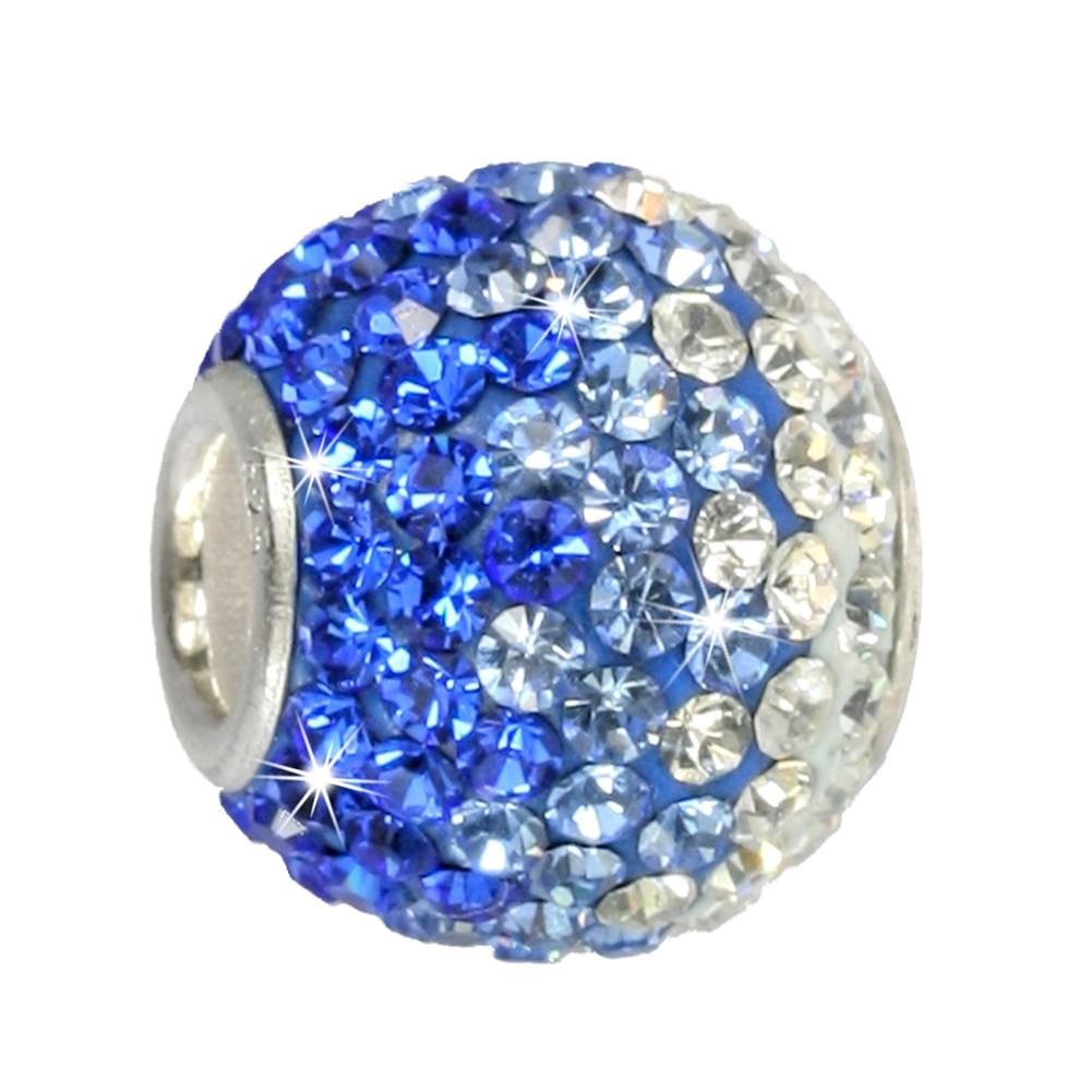 SilberDream Glitzer Bead Swarovski Elements blau ICE Silber GSB002