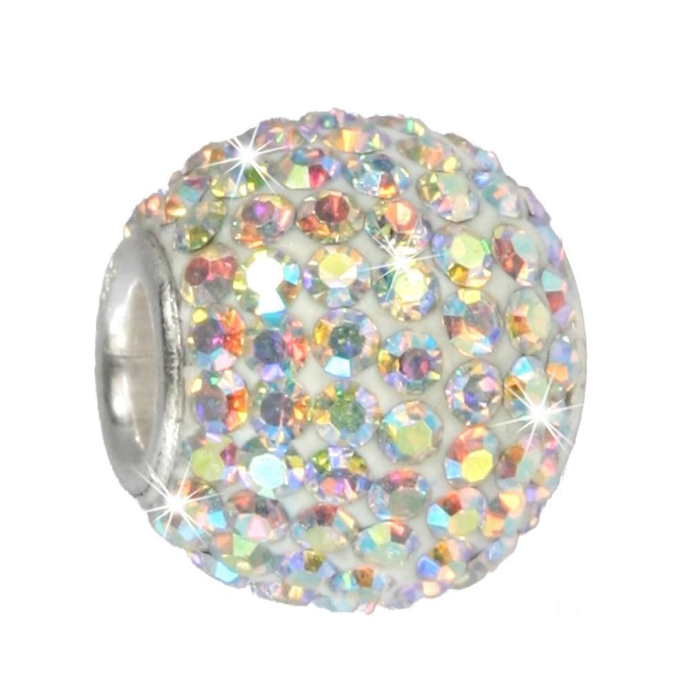 SilberDream Glitzer Bead Swarovski Elements weiß POL Silber GSB101