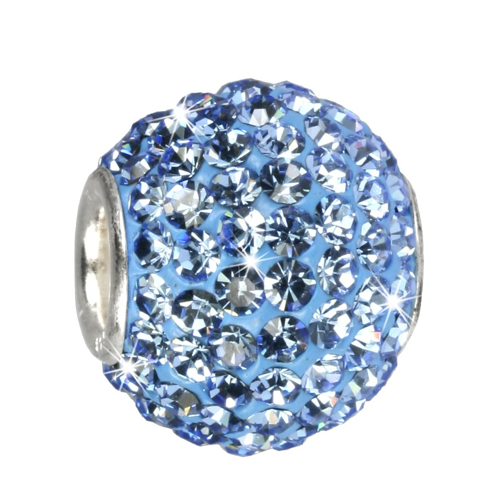 SilberDream Glitzer Bead Swarovski Elements blau Shiny GSB204