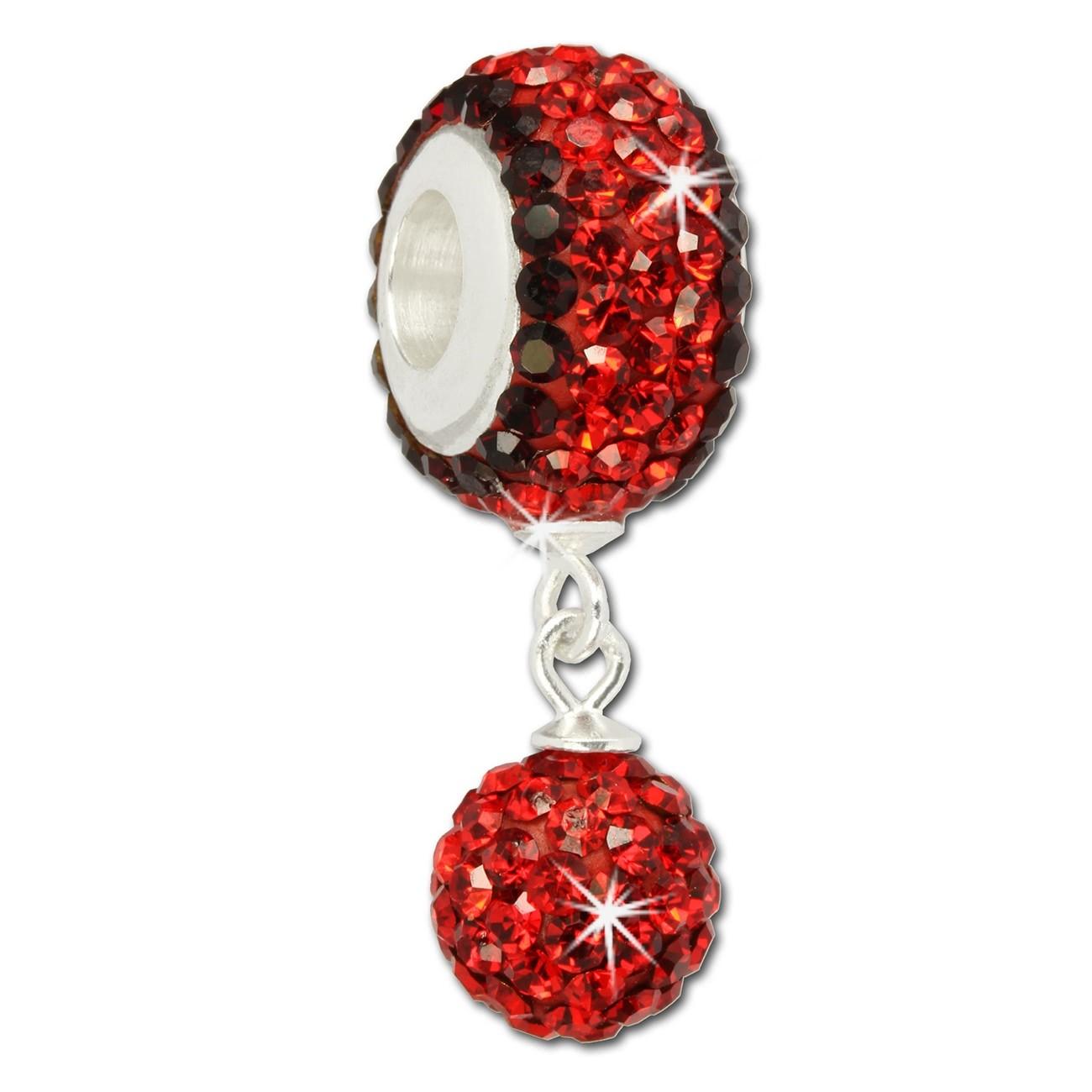 SilberDream Bommel-Bead Glitzer Kristalle rot 925 Silber GSB400