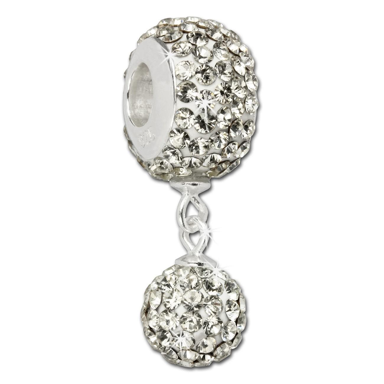 SilberDream Bommel-Bead Glitzer Kristalle weiß 925 Silber GSB401