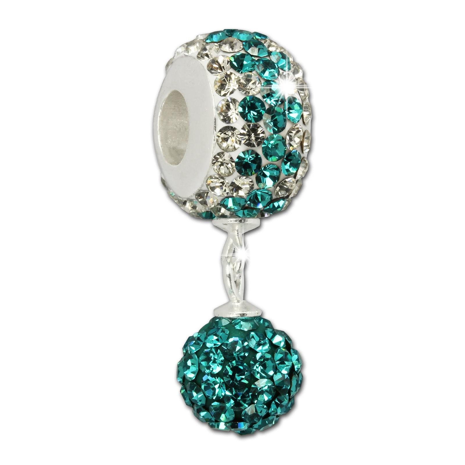 SilberDream Bommel-Bead Glitzer Kristalle türkis 925 Silber GSB404