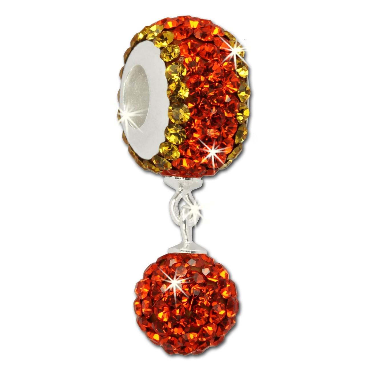 SilberDream Bommel-Bead Glitzer Kristalle orange 925 Silber GSB405