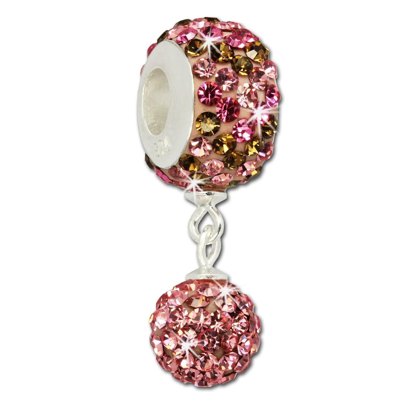 SilberDream Bommel-Bead Glitzer Kristalle rosa 925 Silber GSB406