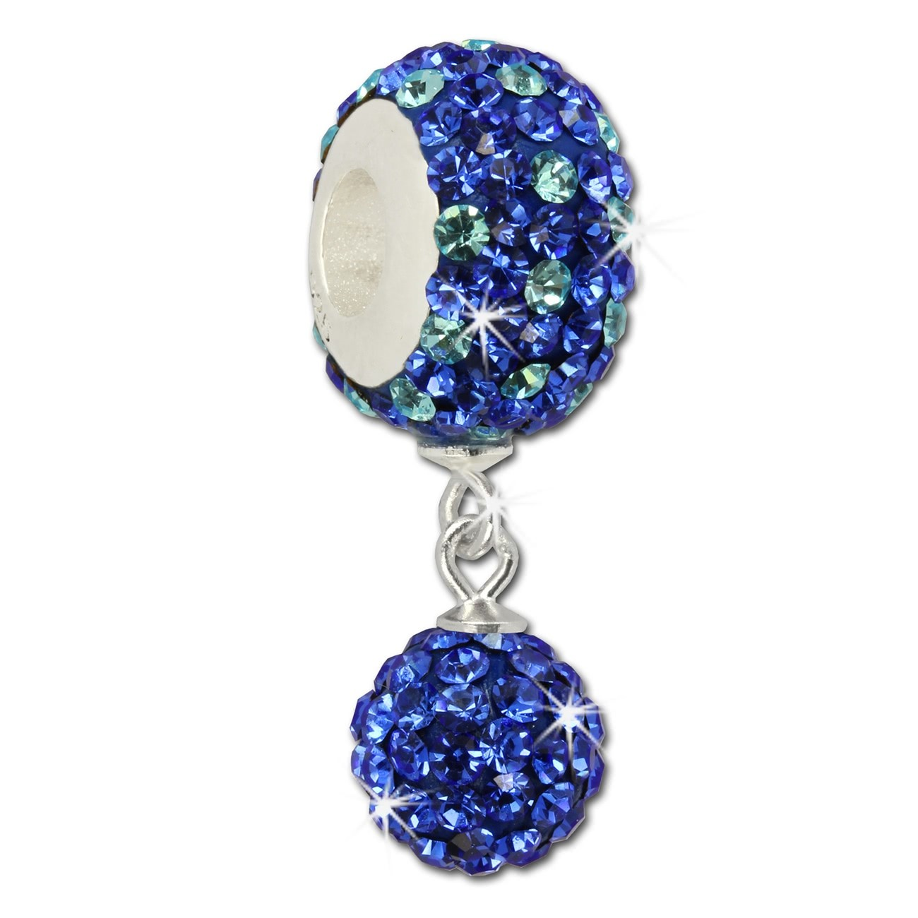 SilberDream Bommel-Bead Glitzer Kristalle blau 925 Silber GSB407