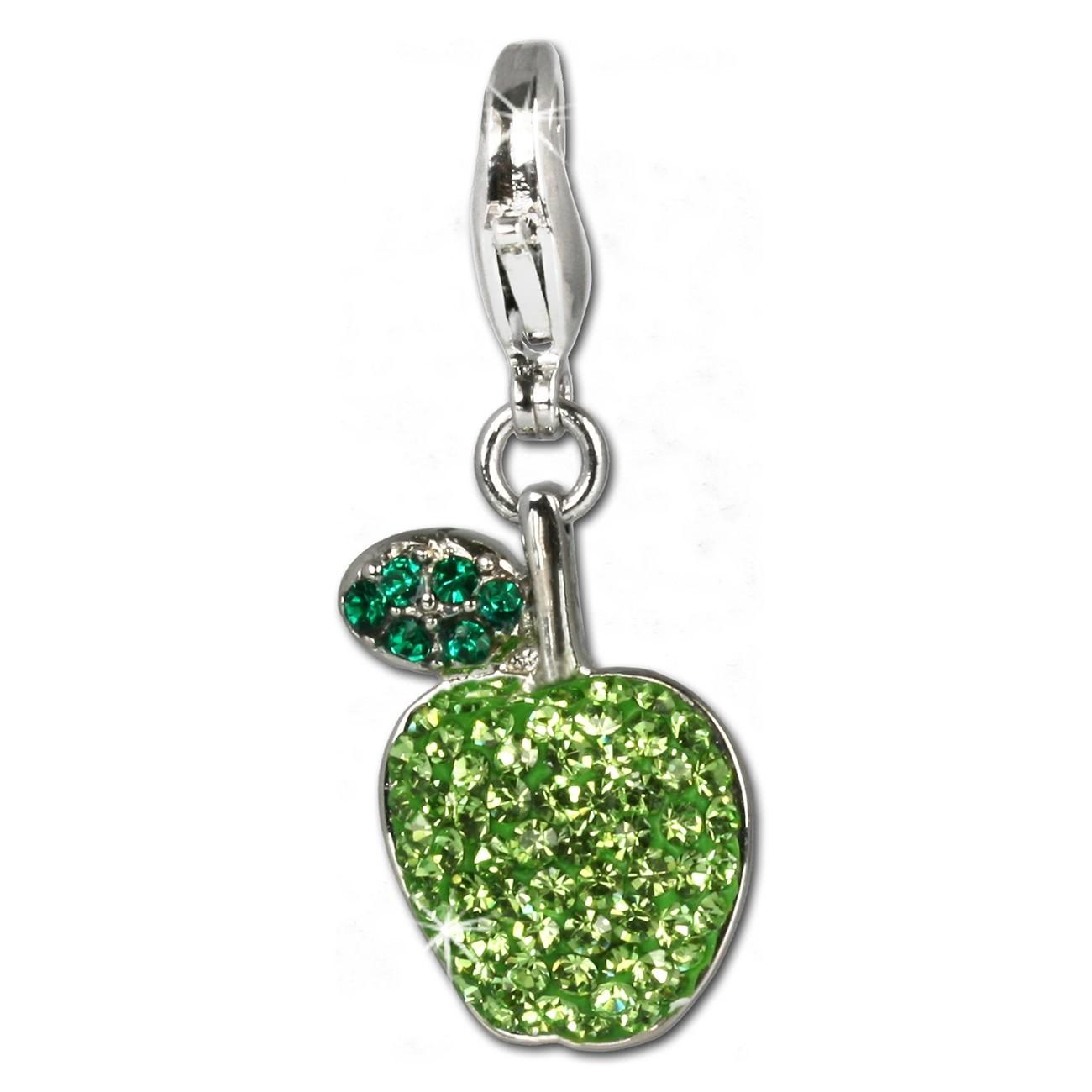 SilberDream Glitzer Charm Apfel Swarovski Elements grün 925 GSC201