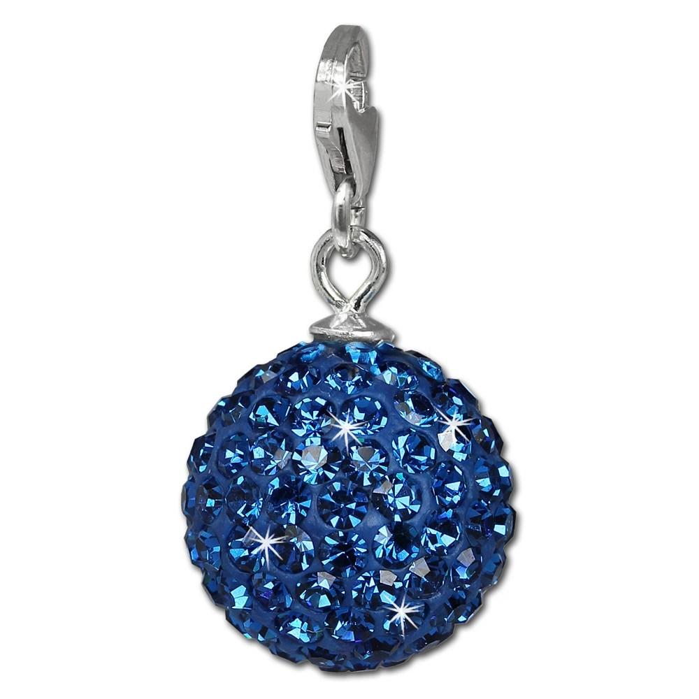 SilberDream Glitzer Charm Kugel blau Swarovski Elements GSC218B