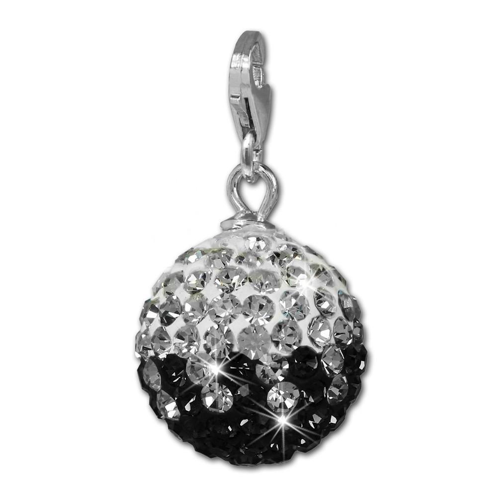 SilberDream Glitzer Charm Kugel schwarz/weiß Swarovski Elements GSC219S