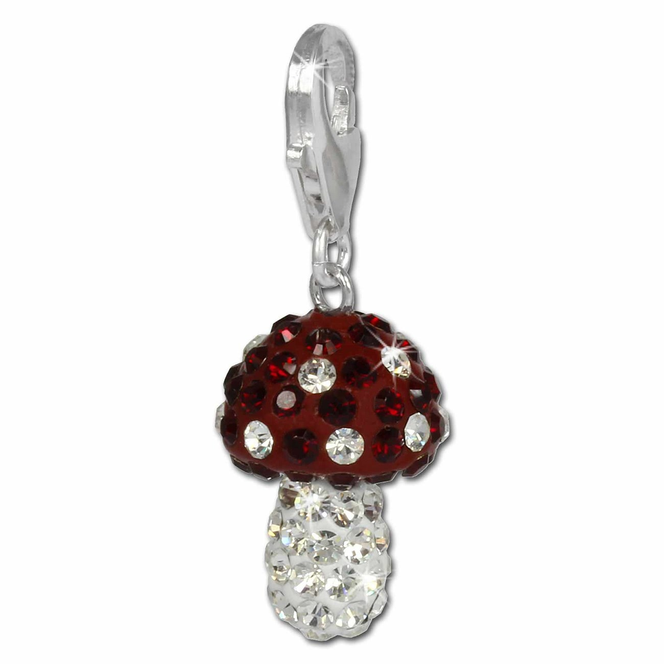 SilberDream Glitzer Charm Pilz rot Zirkonia Kristalle 925 GSC306R