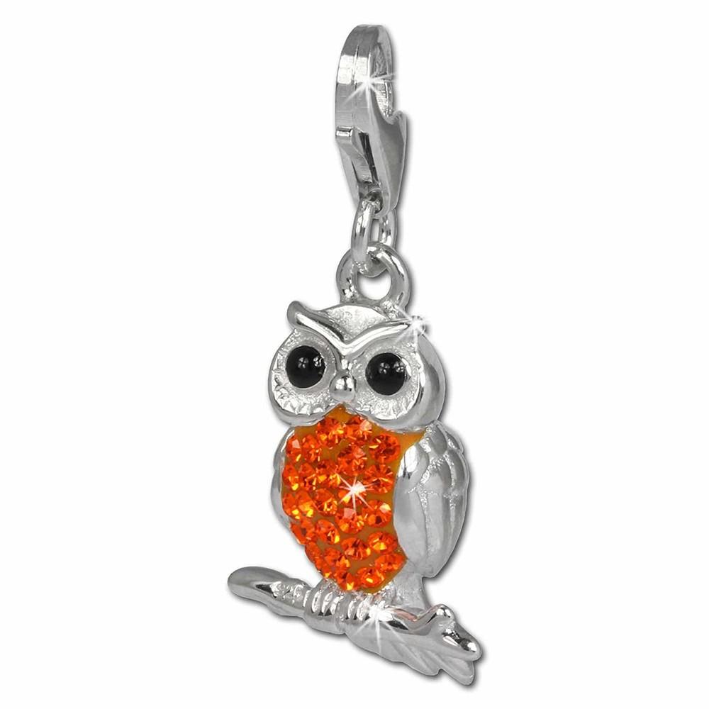 SilberDream Glitzer Charm Eule orange Zirkonia Kristalle GSC505O