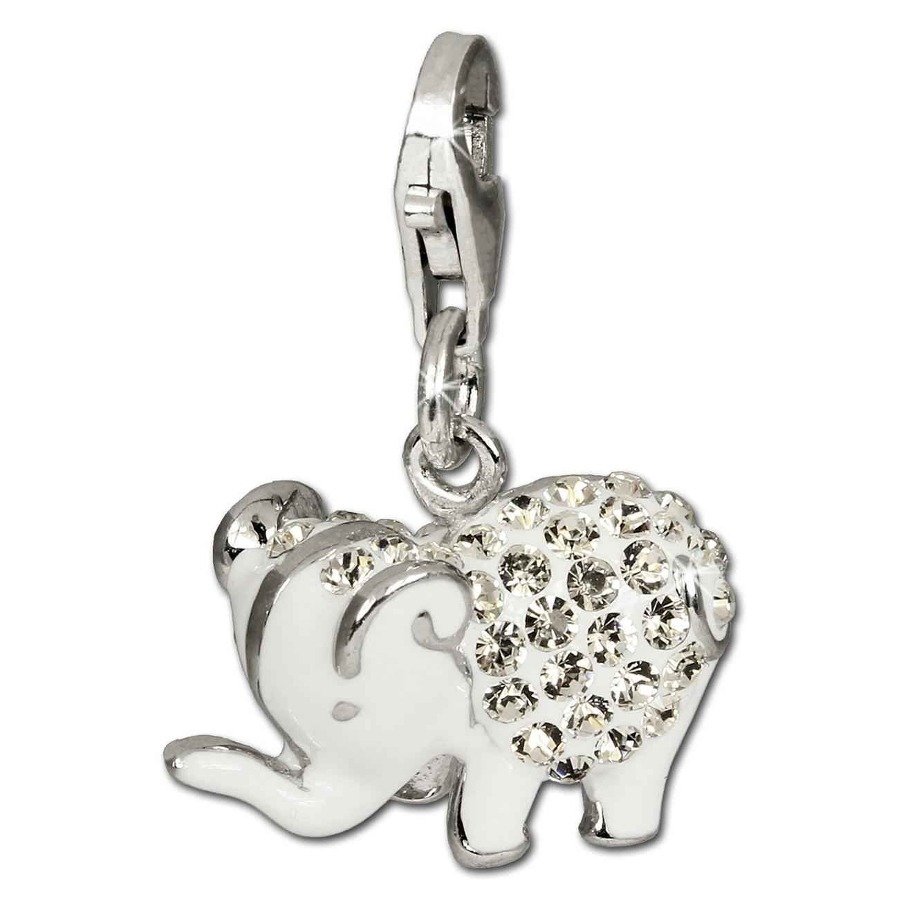 SilberDream Glitzer Charm Elefant weiß Zirkonia Kristalle GSC510W