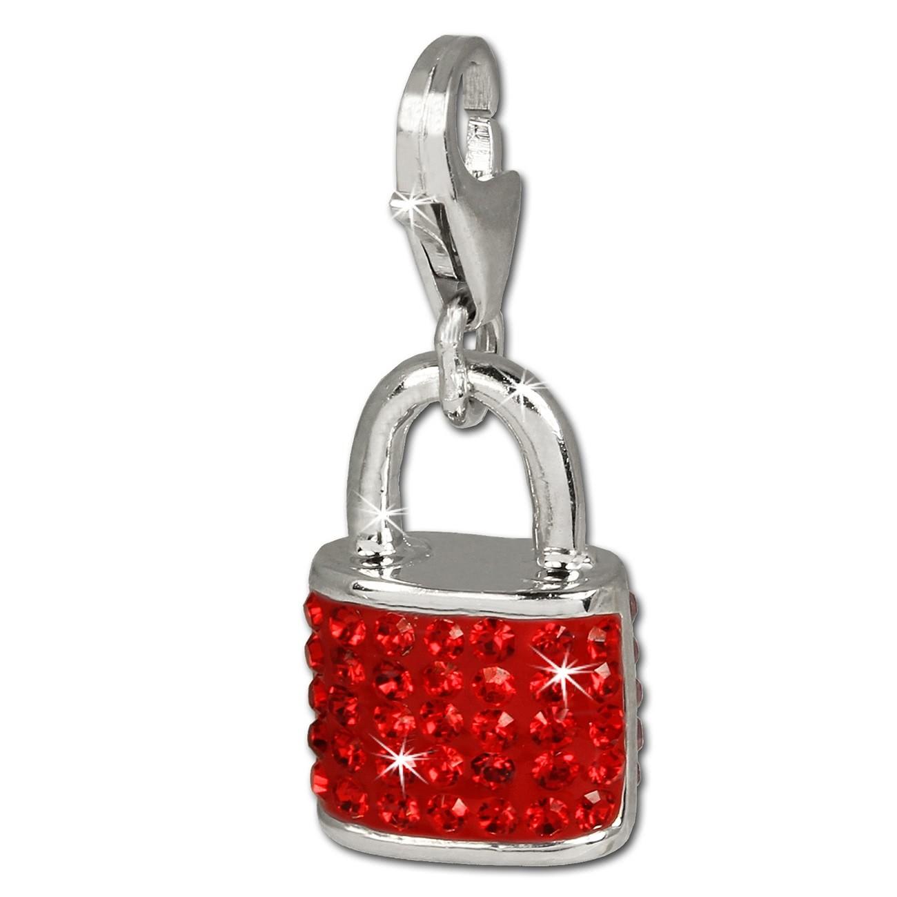 SilberDream Glitzer Charm Schloss rot Zirkonia Kristalle 925 GSC514R