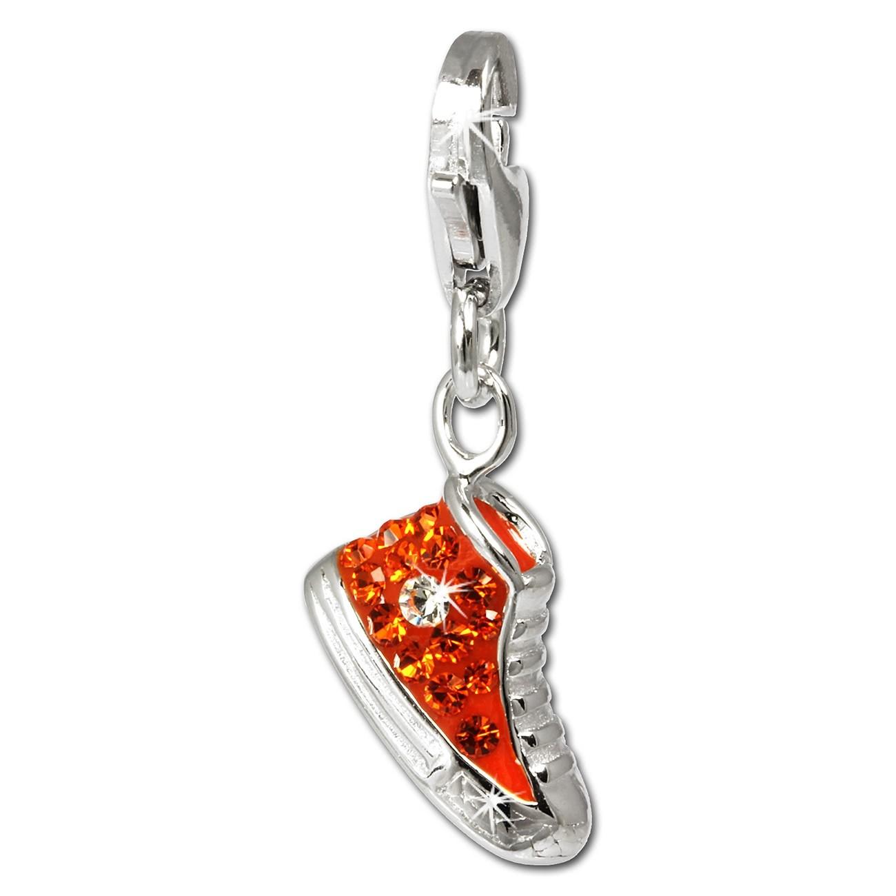 SilberDream Glitzer Charm Sneaker orange Zirkonia Kristalle GSC515O