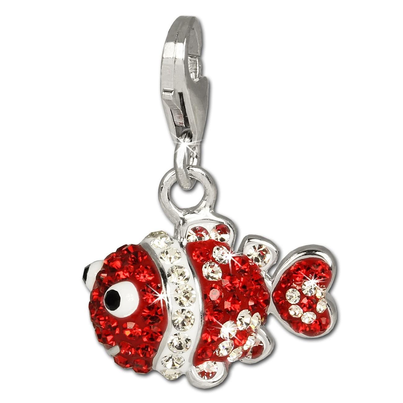 SilberDream Glitzer Charm Clownfisch rot Zirkonia Kristalle GSC518R