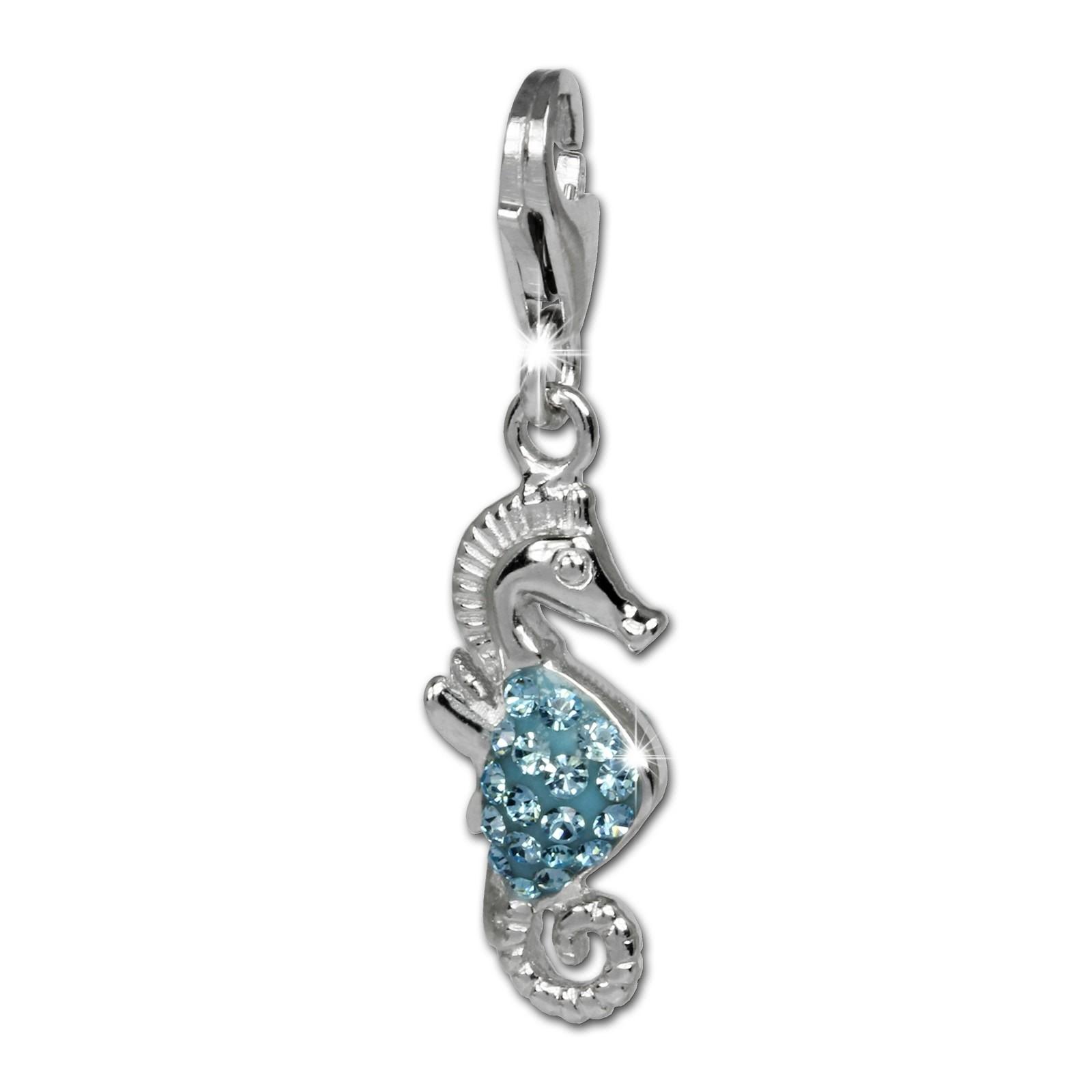 SilberDream Glitzer Charm Seepferd blau Zirkonia Kristalle 925 GSC519H