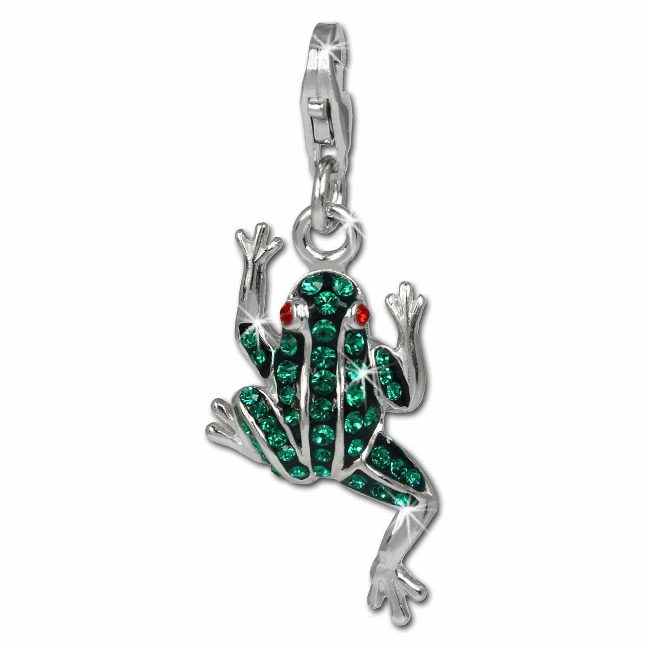 SilberDream Glitzer Charm Frosch grün Zirkonia Kristalle 925er GSC521G