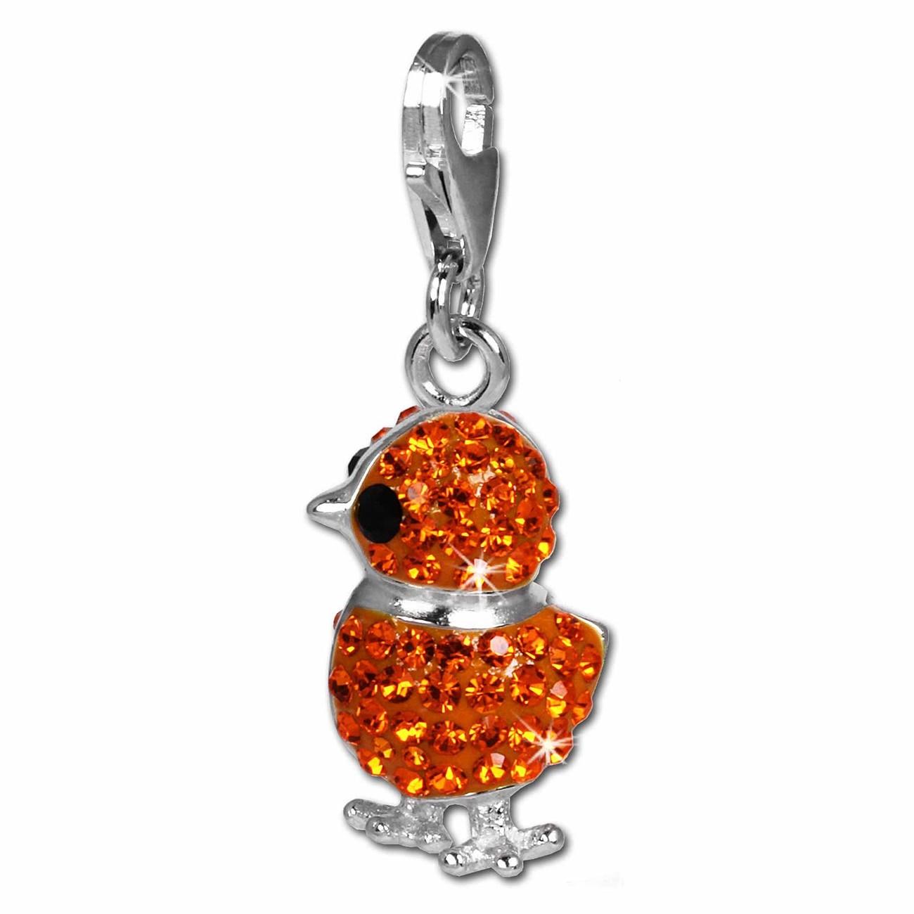 SilberDream Glitzer Charm Küken orange Zirkonia Kristalle 925 GSC522O