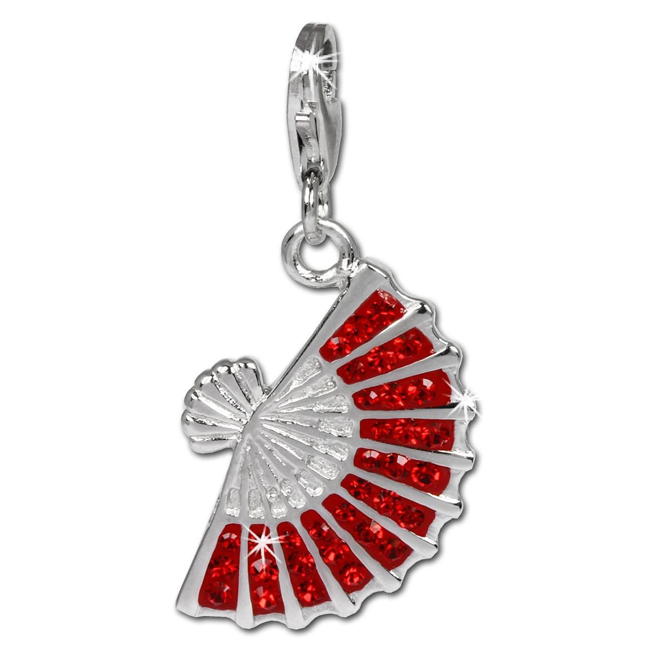 SilberDream Glitzer Charm Fächer rot Zirkonia Kristalle 925er GSC525R