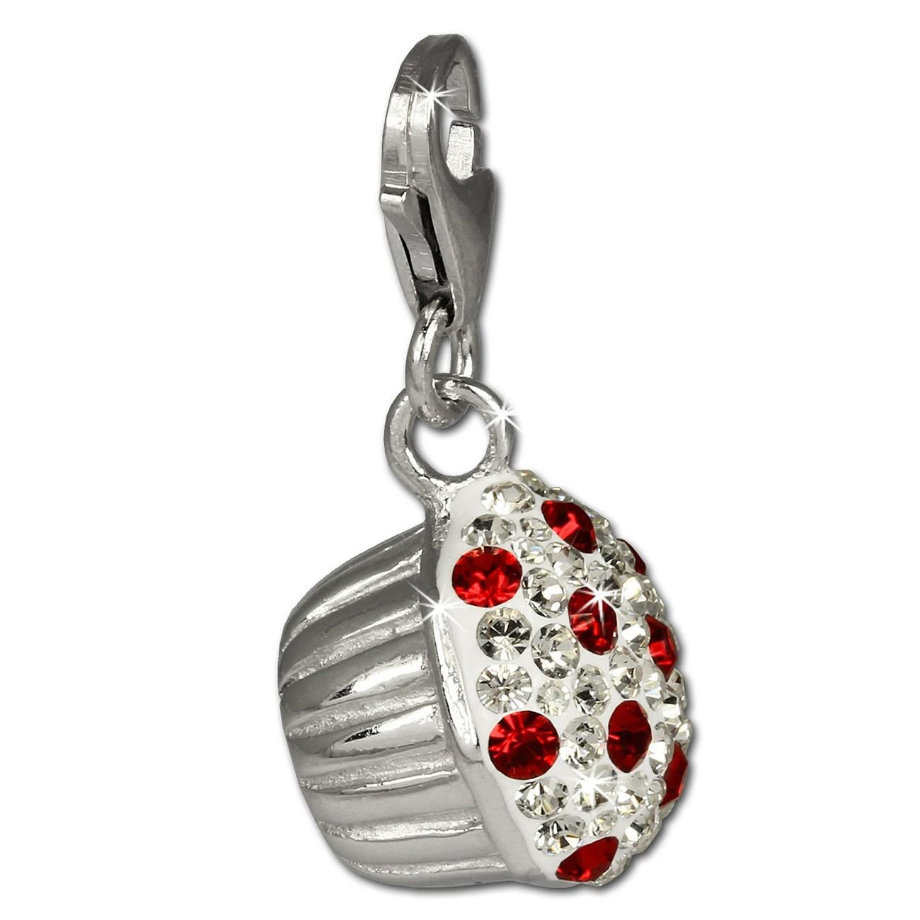 SilberDream Glitzer Charm Muffin rote Zirkonia Kristalle 925er GSC526R