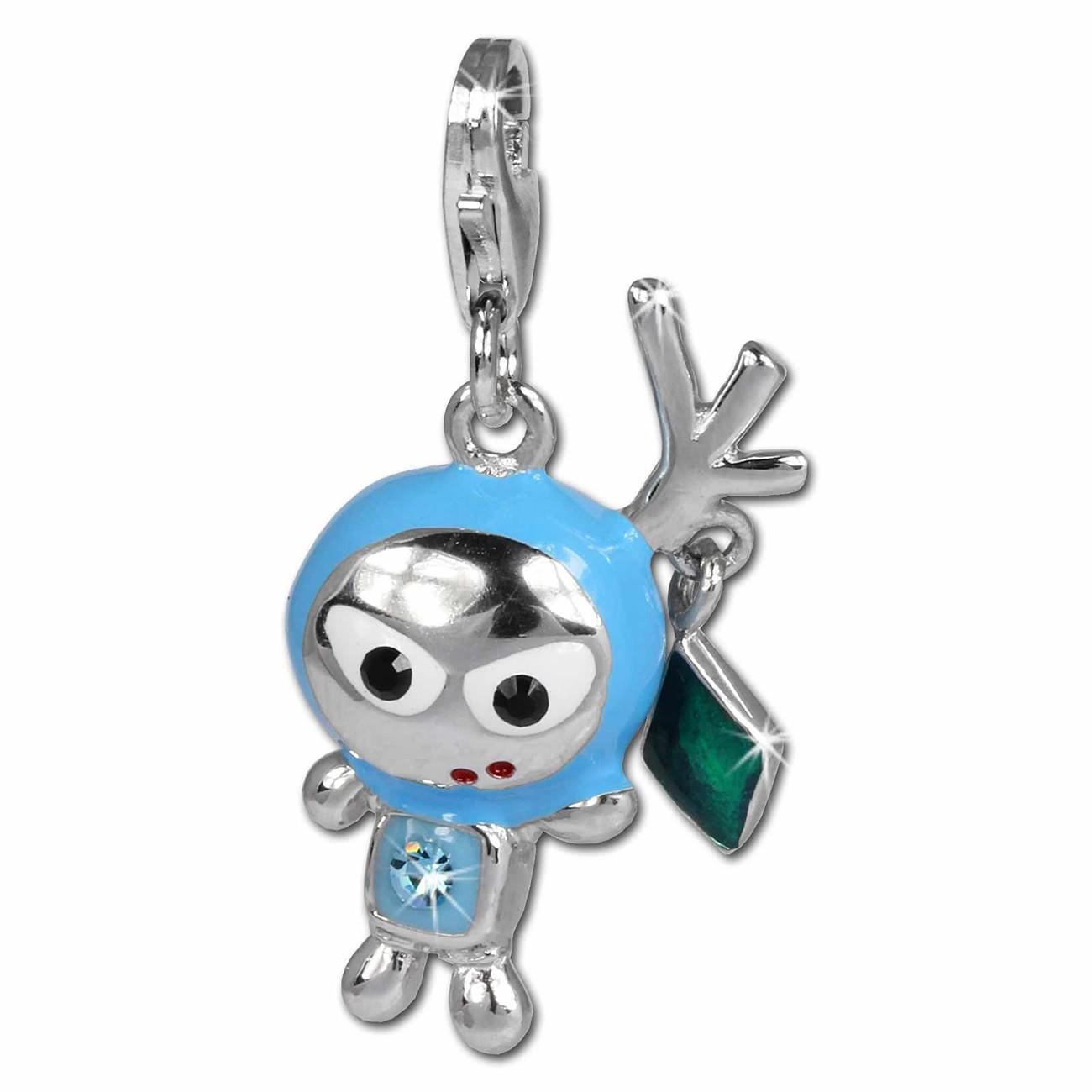 SilberDream Glitzer Charm SpaceBodo blau Zirkonia Kristall 925 GSC527H