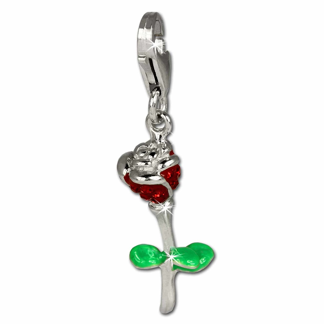 SilberDream Glitzer Charm Rose rot Zirkonia Kristalle 925er GSC530R