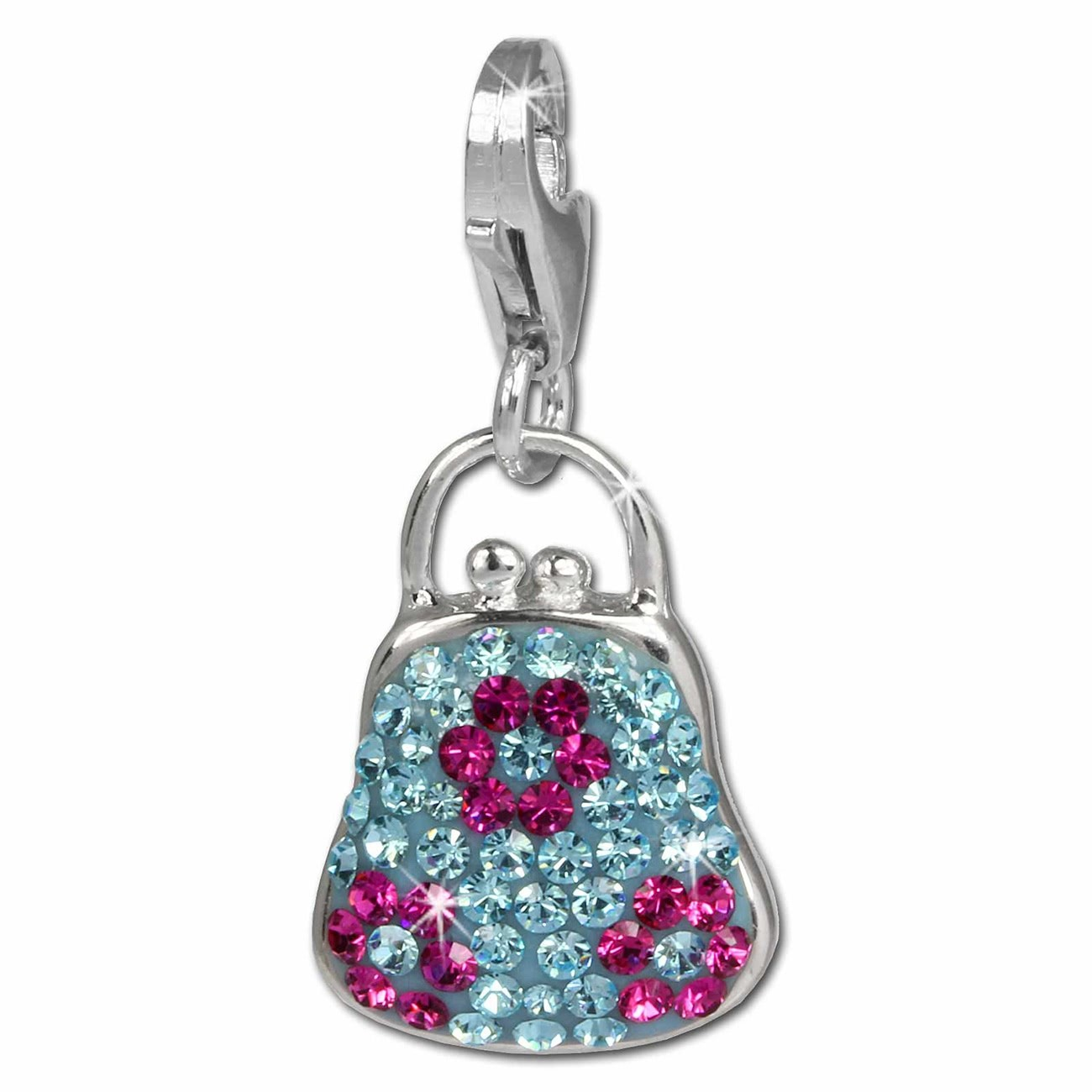SilberDream Glitzer Charm Tasche blau Zirkonia Kristalle 925 GSC532H