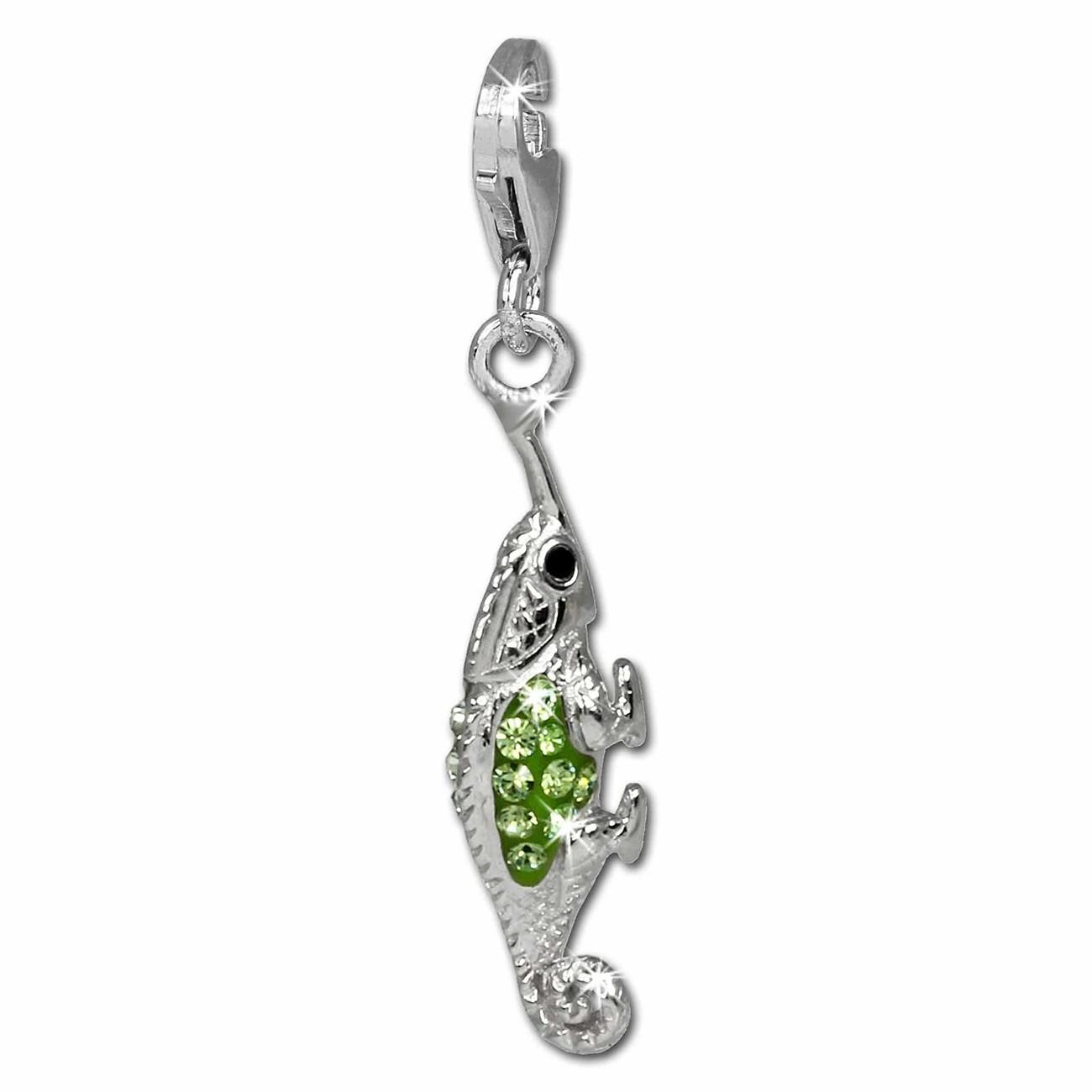 SilberDream Glitzer Charm Leguan grün Zirkonia Kristalle 925er GSC535L
