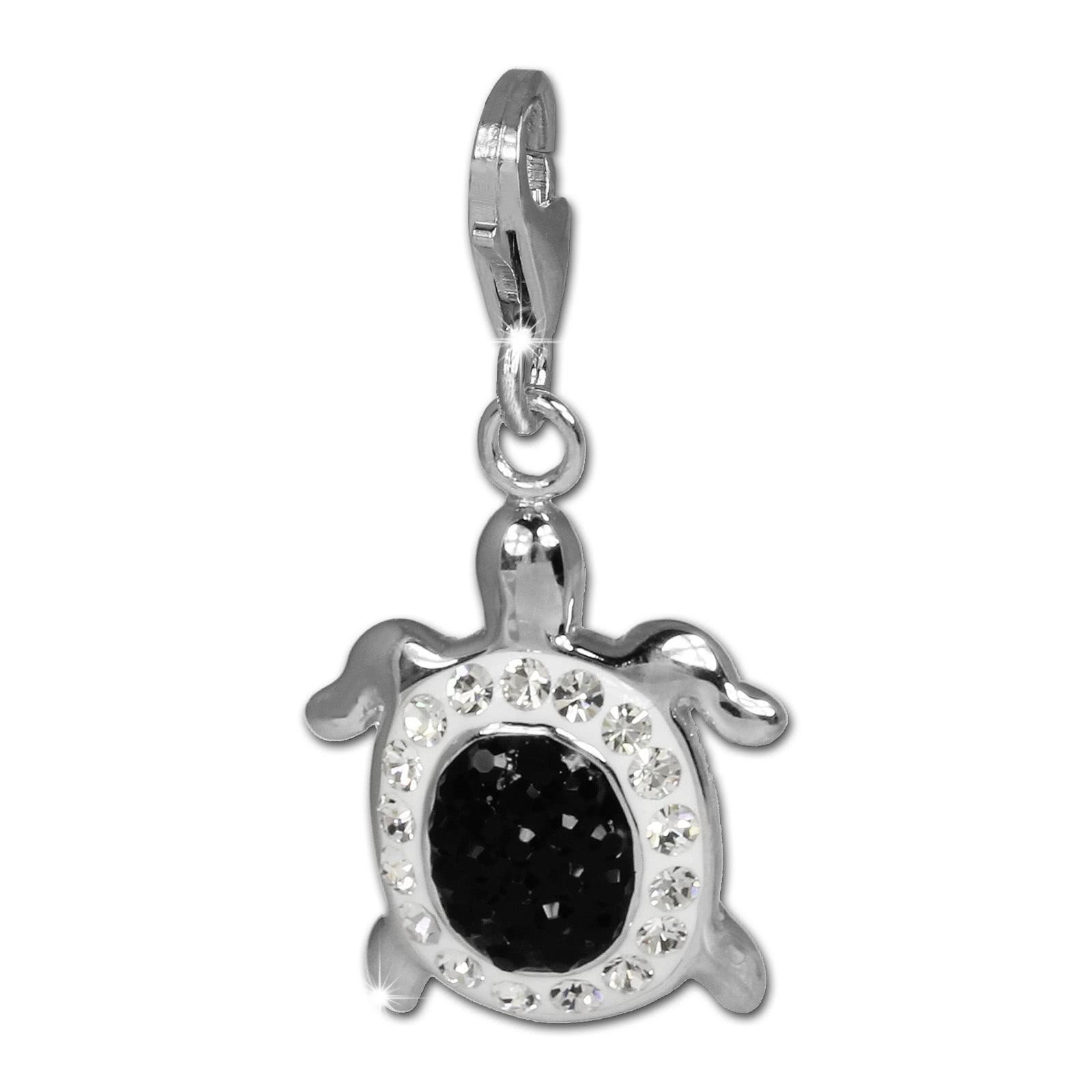 SilberDream Glitzer Charm Schildkröte schwarz Zirkonia Kristalle GSC536S