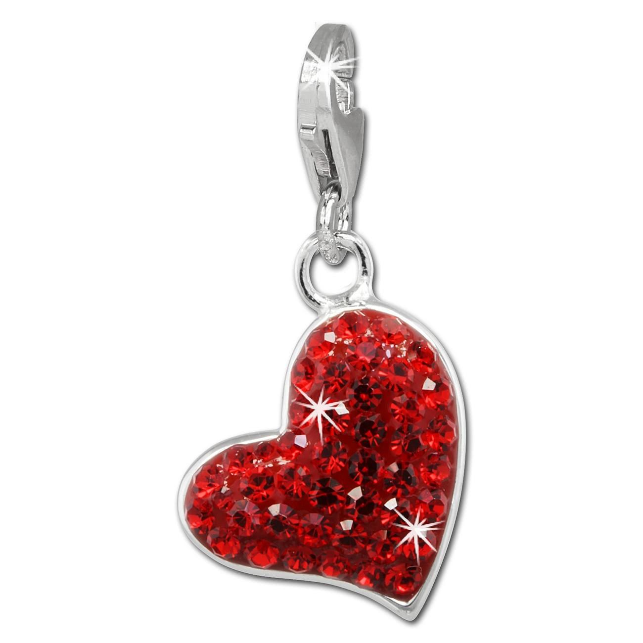 SilberDream Glitzer Charm Herz rot Zirkonia Kristalle GSC543R