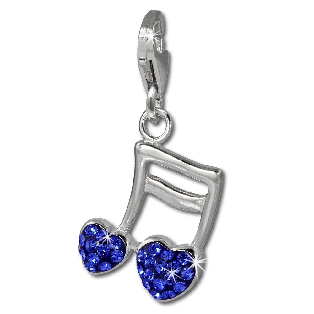 SilberDream Glitzer Charm Doppelnote Herz blau Zirkonia Kristalle GSC553B