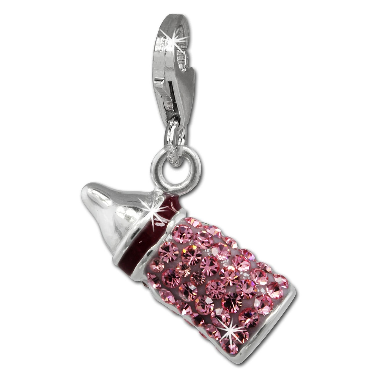 SilberDream Glitzer Charm Nuckelflasche rosa Zirkonia Kristalle GSC555A