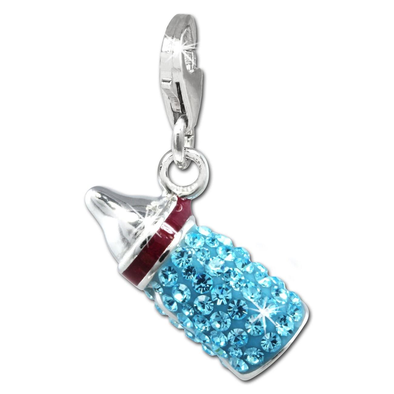 SilberDream Glitzer Charm Nuckelflasche hellblau Zirkonia Kristalle GSC555H