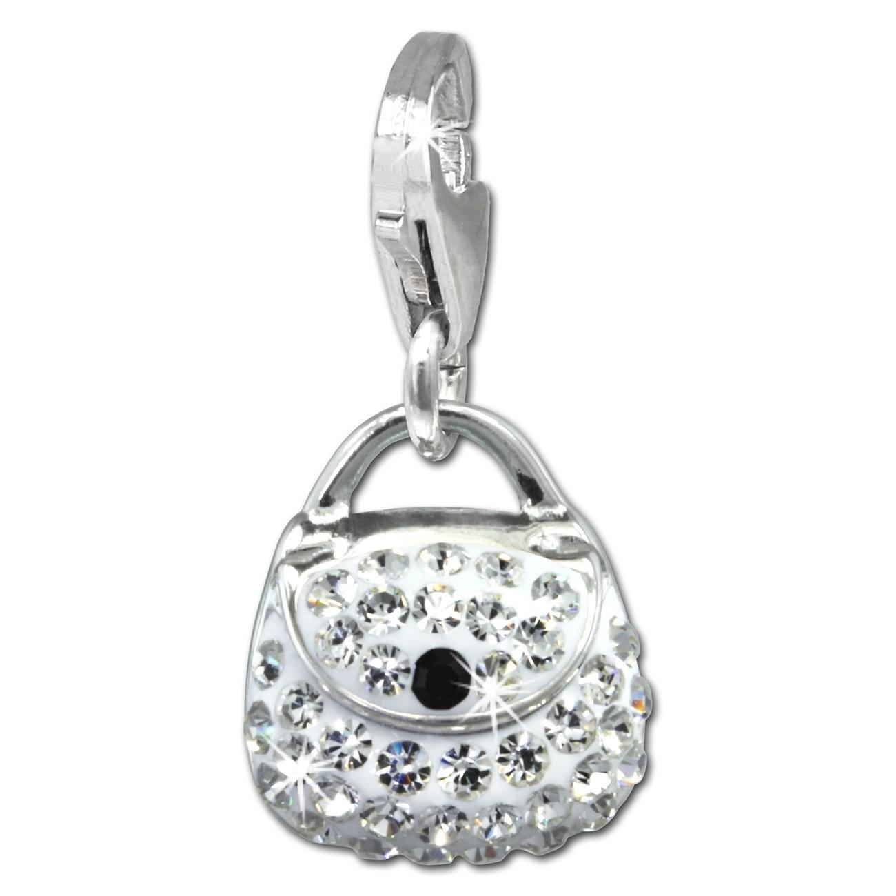 SilberDream Glitzer Charm Tasche klein weiß Zirkonia Kristalle GSC558W