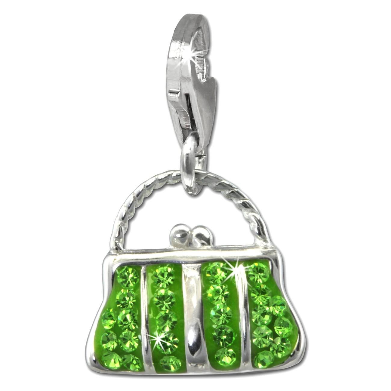 SilberDream Glitzer Charm Tasche groß hellgrün Zirkonia Kristalle GSC559L