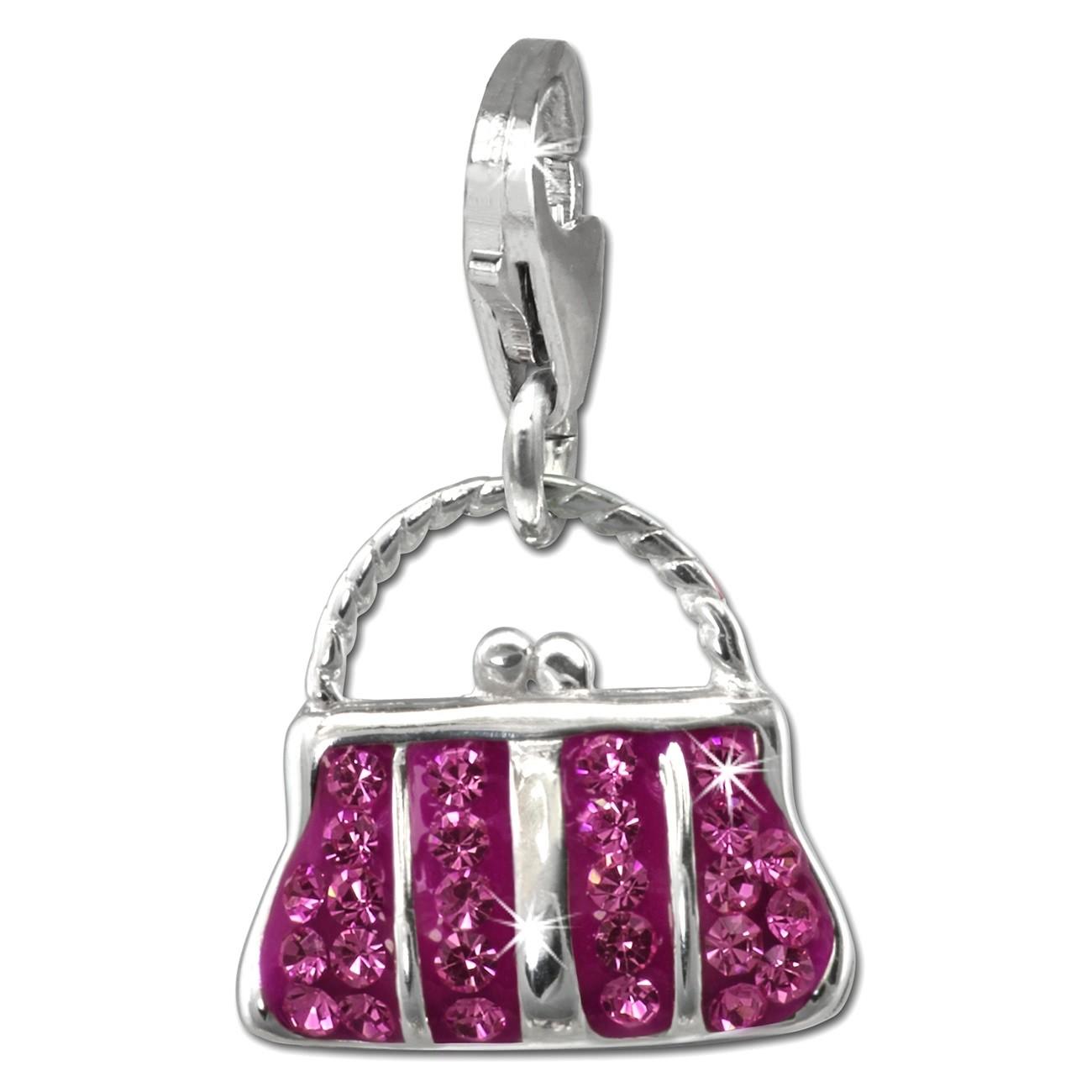 SilberDream Glitzer Charm Tasche groß fuchsia Zirkonia Kristalle GSC559P