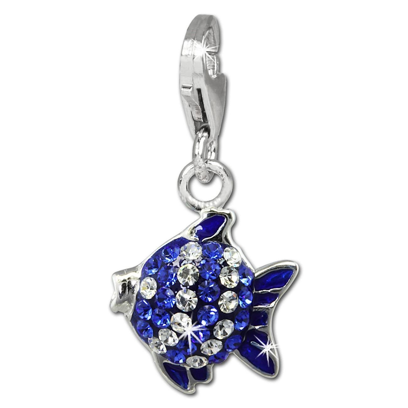 SilberDream Glitzer Charm Fisch blau Zirkonia Kristalle Anhänger GSC564B